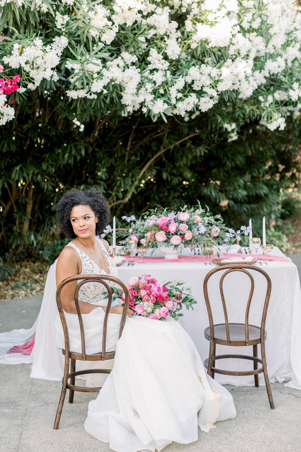 Wedding tablescape for pink and white wedding themes