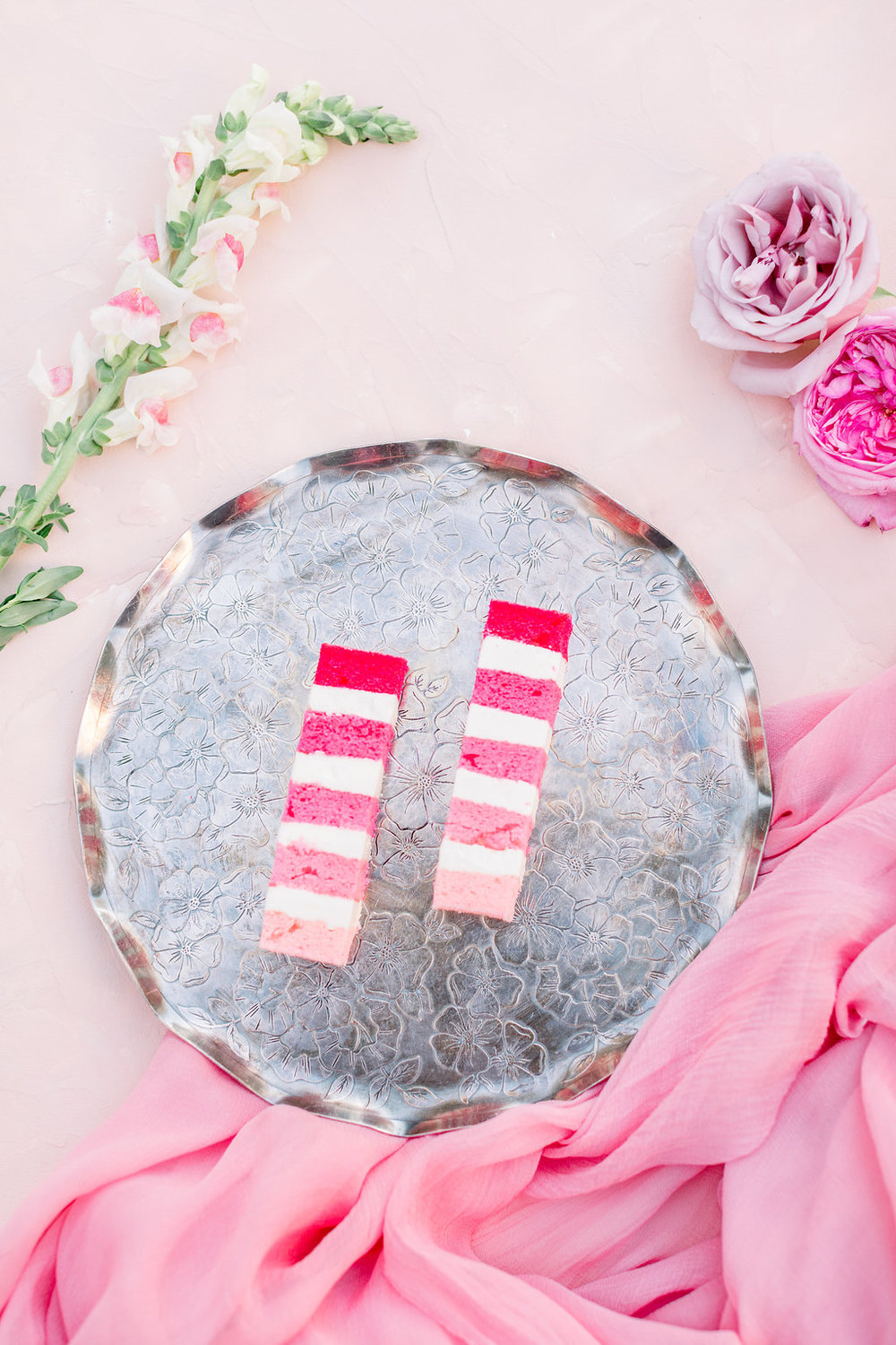 Pink Wedding Dessert Table Flatlay Idea