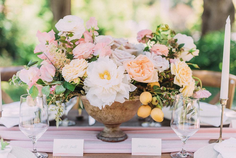 Floral arrangement perfect for spring wedding tablescape