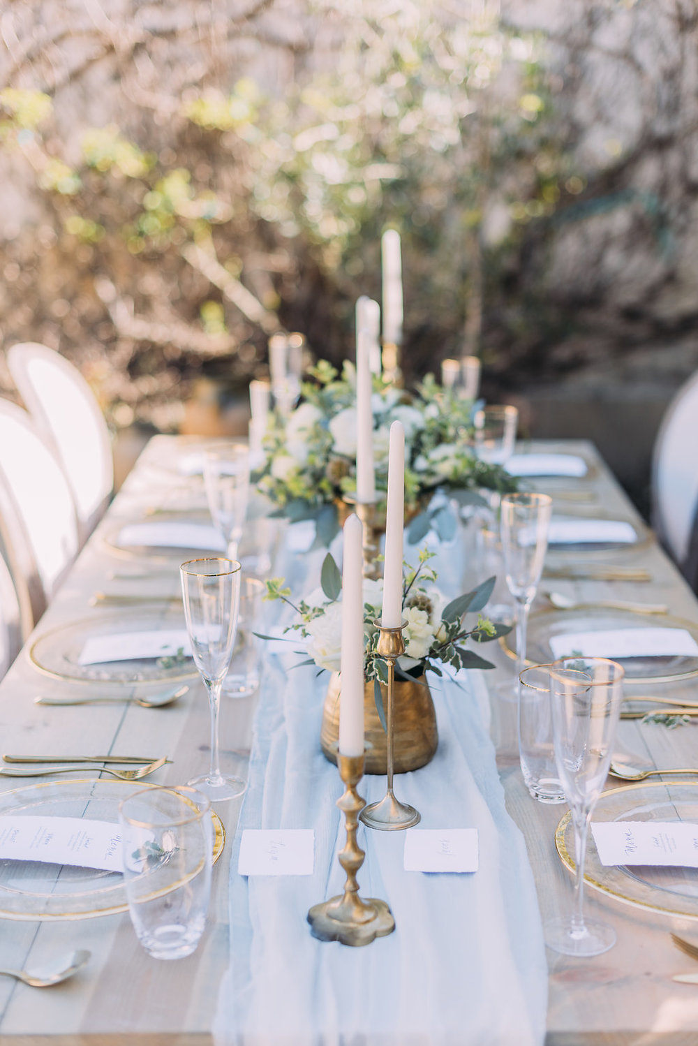 Sheer Silk Chiffon Table Runners for soft and sophisticated wedding tablescape
