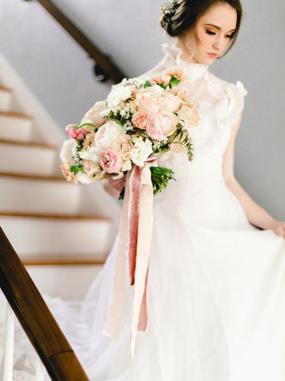 Soft and Feminine Silk Velvet RIbbons for sophisticated bridal bouquet ideas