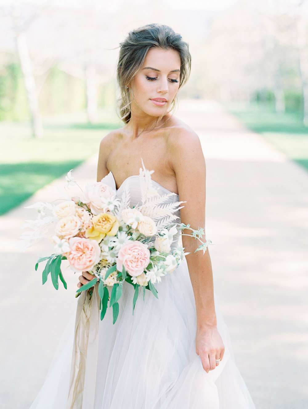Nude and cream silk chiffon ribbons perfect for white bridal bouquet and flowy wedding gown