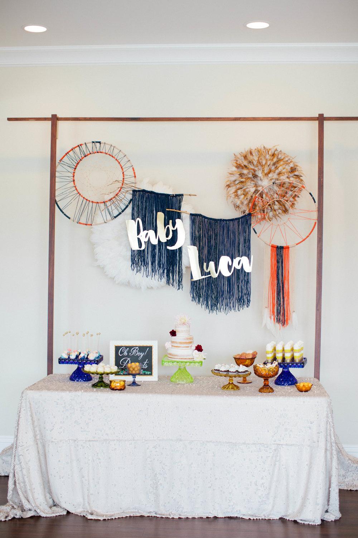 Boho Baby Shower Cake Table Design