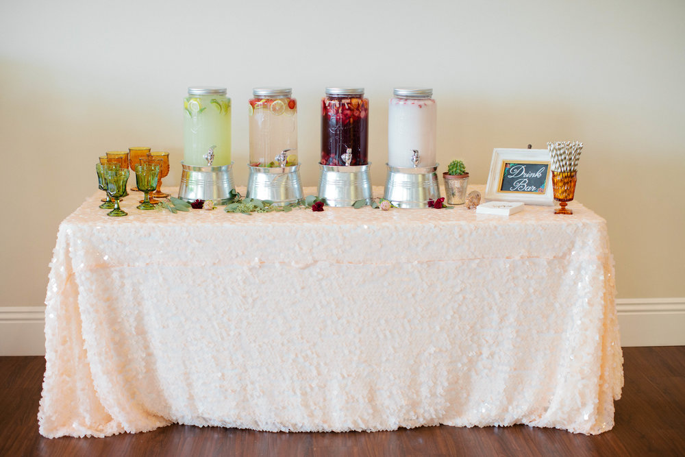 Drink Stand inspirations for party and events on sequin table linen