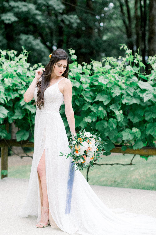 Simple wedding flowy wedding gown with Powder Blue silk velvet ribbon bridal bouquet