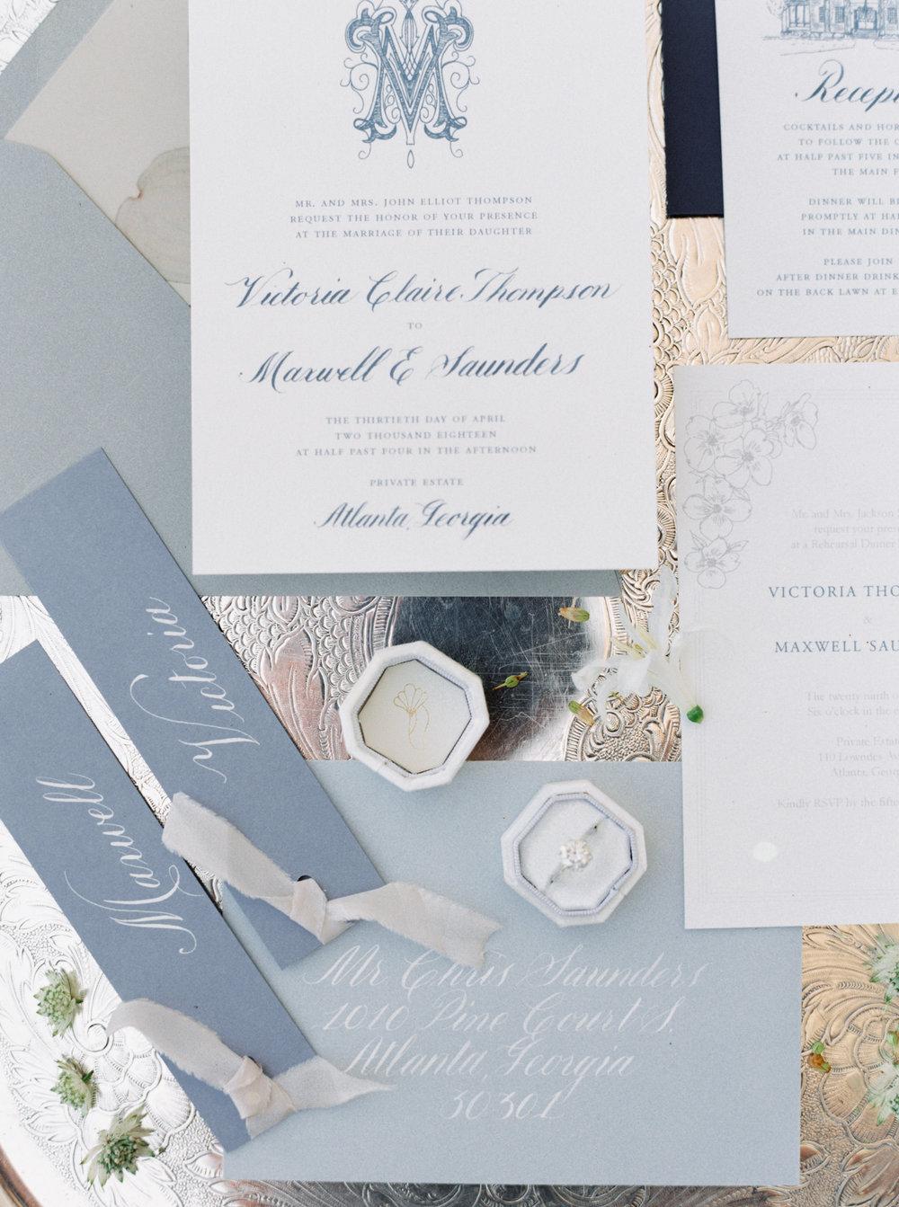 Pretty White and Light Blue Calligraphy Wedding Invitations
