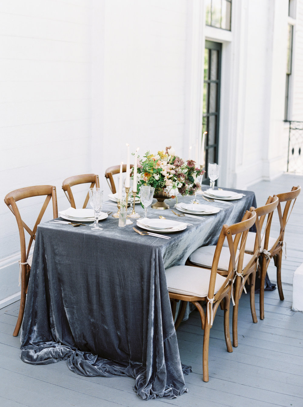 Gorgeous, long, and flowy silk velvet table linen for simple and elegant wedding reception tablecape