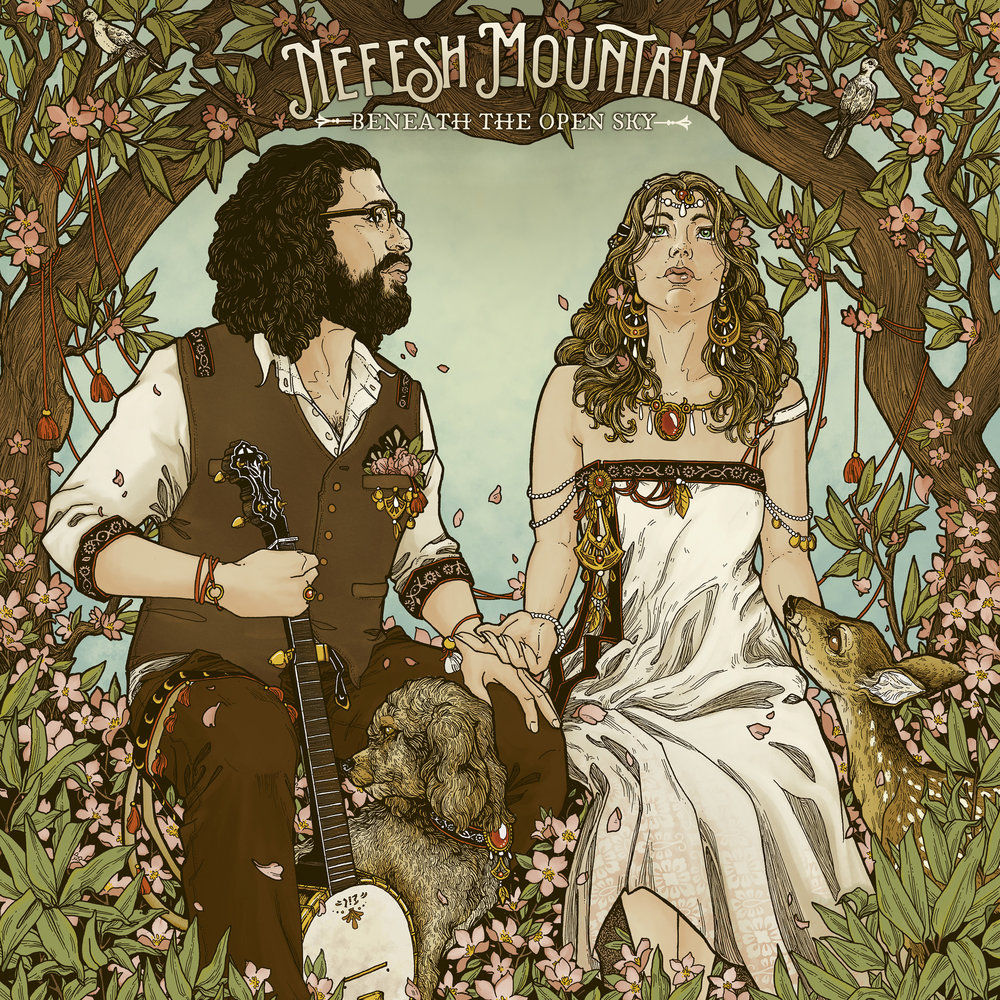 "NEFESH MOUNTAIN RELEASES ""BENEATH THE OPEN SKY"" MARCH 2  with special guests Sam Bush, Jerry Douglas, Tony Trischka and David Grier  Nashville – January 18, 2018 – ""The question is not, how do we get diversity into bluegrass, but how do we get diversity back into bluegrass?"" asked Rhiannon Giddons during her keynote at the 2017 IBMA conference. The answer is Nefesh Mountain. Yes, Beneath The Open Sky is a bluegrass album. Yes, some of its lyrics are sung in Hebrew. No, it isn't a gimmick or a parody. And, no, it's not klezmer music.  That being said, let's hear Beneath The Open Sky for what it really is: a soulful, euphoric, folk-flavored outpouring of hope and joy, propelled by the kind of crisp, crystalline picking that gives lyrics wings. It's a distinctively Nefesh Mountain sound.  On March 2, the husband and wife duo of Doni Zasloff and Eric Lindberg, will release Beneath The Open Sky, their second full length album and follow up to their critically-acclaimed self-titled debut NefeshMountain. The recording was very much a hands-on undertaking for the couple, writing or arranging all 11 songs, as well as co-producing the entire project from start to finish. They recorded it with the instrumental backing of Sam Bush, Jerry Douglas, Tony Trischka and David Grier, aided by Nefesh Mountain's touring band members, Alan Grubner on fiddle and Tim Kiah on bass. A dazzling picker in his own right, Lindberg provides lead guitar and banjo throughout, while Zasloff soars with some of the most melodic, incisive and soul-stirring vocals we've heard since Mary Travers first took the spotlight.  Using original material, along with four tracks drawing from the folk and old time traditions, Lindberg and Zasloff ingeniously create a beautiful arc throughout Beneath The Open Sky which defines their own genre and world as they see it. Their message is clear from the album's opening track and rousing call for universal equality ""Bound For The Promised Land,"" to the closing of their haunting rendition of Irving Berlin's ""Russian Lullaby."" Throughout these songs, you can hear the foundational similarities between bluegrass and Jewish traditions, notably the lure of ""home,"" the love of nature and the comforts of a like-minded community. Jerusalem Ridge, Rocky Top, Flint Hill and Nefesh Mountain are clearly parts of the same eternal chain.  Both native New Yorkers, Lindberg and Zasloff have long and strong ties to bluegrass. ""I grew up in Brooklyn,"" says Lindberg, ""but my dad's side of the family, which was not Jewish—he converted when he married my mother—lived in rural Georgia. I would go down and hang out with my uncles, who were great guitar players. We'd hike the Appalachian Trail and listen to old-time music. Something in my soul always responded to this deep, ancient, and undeniable feeling that I had from being down South in this heartland of America.""  ""We want to have a chance to share our story with everybody,"" Zasloffadds. ""There is this word 'Americana' that we all know well and is used a lot these days, bridging the gaps somewhere between Old-Time, Bluegrass, Folk, Blues and Jazz which all have deep roots in this country. For me, the beauty of all of these forms of music is that at their core they are about people, they are about this amazing world, and they are about life. That is where we are coming from with Nefesh Mountain; somewhere in the long chain of music and ideology that gives us the opportunity to open people's minds and hearts to our culture and heritage. We're all in the same boat here. We're all trying to figure it out."""