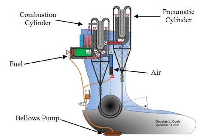 Figure 2: Walking-Engine-Actuated Active Ankle-Foot Orthosis. A conceptual schematic of a Walking Engine AAFO is presented. The AAFO is powered by an internal-combustion engine using two opposing (antagonistic), asymmetric, piston actuators to provide the required power for locomotion.