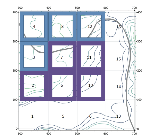 Figure 1. Topographic map of the 16-hectare CTFS/SIGEO plot at SERC . The plots censused in 2011 are outlined in blue, those studied in 2012 are outlined in purple, and the road that goes through the study area is depicted as a gray line. North of hectares 4 and 8 is a logged forest. A wetland area is present in hectares 1, 5, 6, and 13-16 (Figure created by N. Angeli).