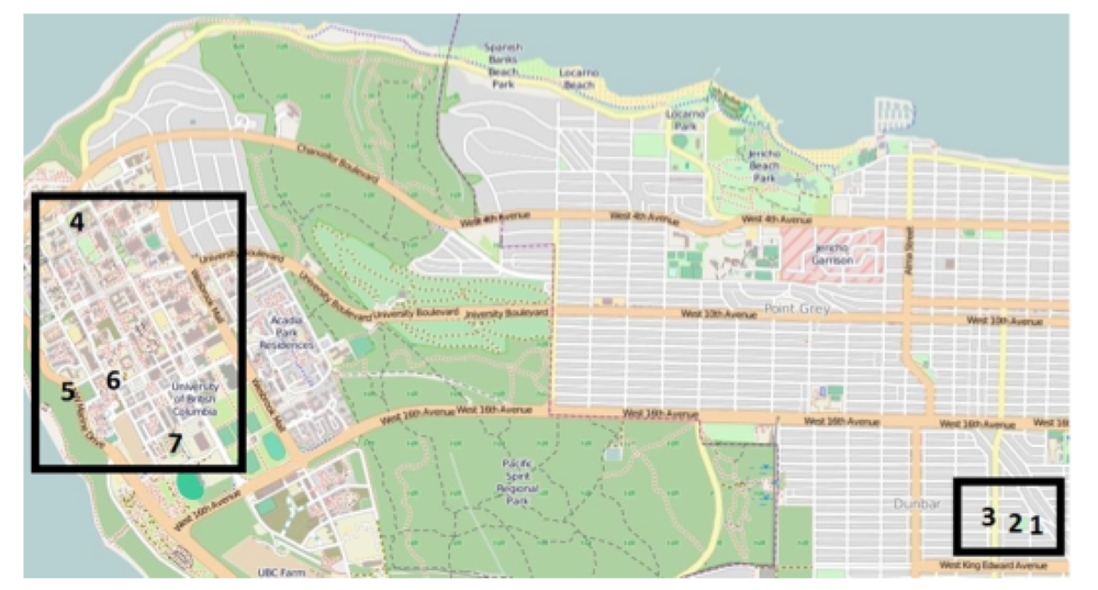 Figure 1. Field site locations indicated on a 1:54500 scale map of Vancouver, BC, Canada.  The Dunbar sites include (1) East Road, (2) Valdez Park (3) Garage. UBC sites include (4) Buchanan (5) West Mall (6) Marine Drive, and (7) Rhodo Wood.