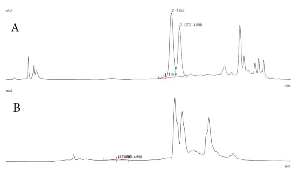 Figure 2.  (A) Clear, symmetric peaks of tetracycline (TC) and chlortetracycline (CTC) were seen with the Acclaim® RSLC C18 PA2 column. (B) The Acclaim® 120 C18 column produced slightly less distinct and symmetric peaks.