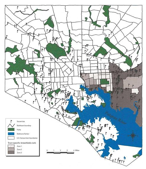 """Figure 1. Distribution of major vacant commercial and industrial properties (greater than or equal to 1 acre in size) and degree of brownfield contamination in southeast Baltimore. Source: Litt JS, Tran NL, Burke TA (2002). """"Examining Urban Brownfields through the Public Health 'Macroscope,'"""" Environmental Health Perspectives 110 (2):183-93."""