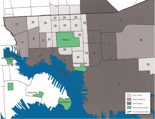 Figure 3. Census tracts shaded with respective brownfield hazard zones (dark=3). Source: Litt JS, Tran NL, Burke TA (2002).