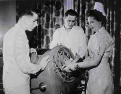 Patient in iron lung, around 1949. Social forces continue to shape modern science, technology, and medicine. Source: National Library of Medicine.