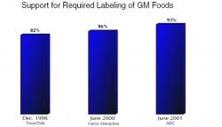 Figure 3. Recent public opinion concerning mandatory labeling of genetically modified foods. From 1998 to 2001, there was an 11% increase in public support for mandatory labeling. This steady increase demonstrates a growing public concern and consumer desire to know what types of food are being purchased and eaten. (Source: Americans & The World: Public Opinions on International Affairs)