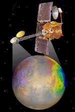 2001 Mars Odyssey, an orbiting spacecraft designed to determine the composition of the planet's surface, detect water and shallow buried ice, and study the radiation environment. Image courtesy of NASA Mars Missions