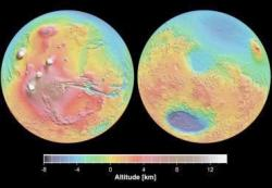 Topography of Mars. Data from Mars Orbiter Laser Altimeter (MOLA). MOLA is an instrument currently in orbit around Mars on the Mars Global Surveyor (MGS) spacecraft. Image courtesy of Jet Propulsion Laboratory, www.marsglobalsurveyor.com