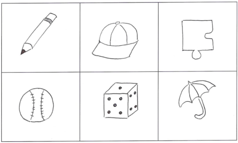 Figure 4. Reproduction of 6 images used for the Boston Naming Test (BNT).  Participants are given 20 seconds to identify each individual object.