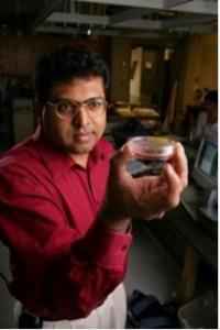 Figure 1. Prasad Shastri holding a petri dish containing bone cells. Photo courtesy Daniel Dubois.