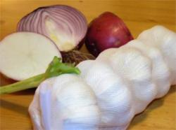 Figure 3. Garlic and onion have powerful antimicrobial properties and grow in every country that was sampled in the study by Sherman and Billings. (Courtesy Stock.XCHNG).