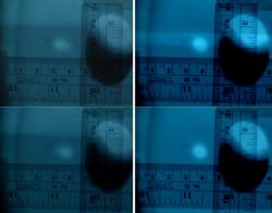 Figure 3. (left panel) Photographs of viewer ITVHG07 mounted inside the beampipe were taken to measure the initial displacement of the electron beam to be 5 mm. The photographs display the election beam at its farthest most points. (right panel) Photographs of viewer ITVHG07 were taken after power supplies were turned off to again measure the displacement of the electron beam. The photographs display the election beam at its farthest points and exhibit a 3.5 mm displacement.