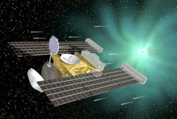 Artist rendering of Stardust probe. Note sample collector deployed out probe front. Source: NASA/JPL.