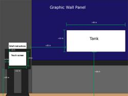 Figure 2: The placement of the interaction panel beside the aquarium. (Not to scale)
