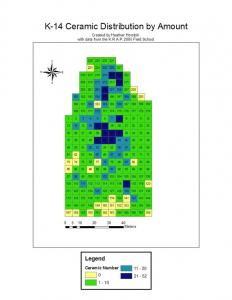Figure 1. This map illustrates the surface ceramic density and distribution of the K-14 site. Each block represents the amount of ceramic found in a particular square meter surveyed. The blue colors in this figure represent above average and high concentrations of ceramic. By looking at the higher concentrations, a large cluster is seen stretching from the northern area to the middle of the site.