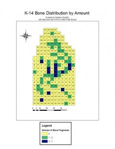 Figure 3. In this figure, the location and distribution of faunal remains are shown. Shown in green and blue, the low amounts of bone indicate a less common artifact on the surface of the site. Still, the distribution pattern can be seen as similar to the distribution of the ceramics.