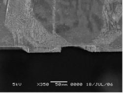 Figure 5: SEM image after 45 min of RIE w/metal mask. RIE produced 18 µm deep sidewalls.