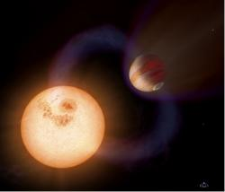 Artist's conception of an ultra-short period planet (USPP), a type of exoplanet that is so close to its star (750,000 miles, or about three times the distance from the Earth to the Moon) that it completes a full orbit in 10.5 hours. (Credit: NASA, ESA and A. Schaller for STScI)