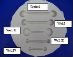 Figure 1. The original resin prototype made by SLA is not shown. A silicon mold is poured over the resin to produce the mold shown. Well I, Well II, Well III and Well IV produce 37%, 60%, 68% and 91% reductions in total volume, respectively, when compared to the Control Well. The dimensions for Well I, III and IV were calculated using Equation 1. The dimensions for Well II were calculated from Equation 2. The original well is included in this silicon mold to serve as control.