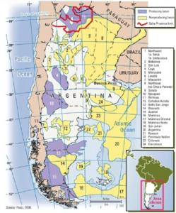 Figure 2 - The Twenty-four Sedimentary Basins of Argentina: The future of exploration appears promising; the basins that have not been exploited represent 68% of the total basin area. Overall, there is 1.845.000 km2 of sedimentary basin area. Of this total, 68% (1.254.600 km2) are not in operation to exploit gas (Lopez, 2006). The nineteen non-exploited basins are: Bolsones, San Luis, Mercedes, Levalle, Macachin, Northeast, Salado. Ñirihuau, Cañadon Asfalto, Deseado, Malvinas, Malvinas Oriental, Malvinas Norte, San Julian, Argentina, Rawson, Peninsula Valdez, Colorado and Claromeco. It is important to note, as shown that not all the sedimentary basins of Argentina are land based; twelve of the basins are on land, six are marine basins and six straddle the coast. (Marine basins are located up to 200 miles from the Argentine coast.) These differences are worthy of mention because the circumstance of different locations affect drilling and exploration costs. Costs are greatly affected by the accessibility of the location of natural gas. Seventy-nine percent of the sedimentary basins are on land. This amounts to 1,457,550 km2, as compared to 387,450km2 of marine basins, or twenty-one percent (Lopez, 2006). Source: Carlos Pucci, 2006