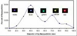 Color correlation to size of nanoparticles. Image courtesy Xiaohung Nancy Xu of Old Dominion University