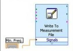 Figure 5. The Write to Measurement File VI outputs the inputted minimum frequency versus a time array to a LabVIEW text file. The time array is automatically generated using the system clock. This section of the resonance frequency tracking software block diagram is shown above.