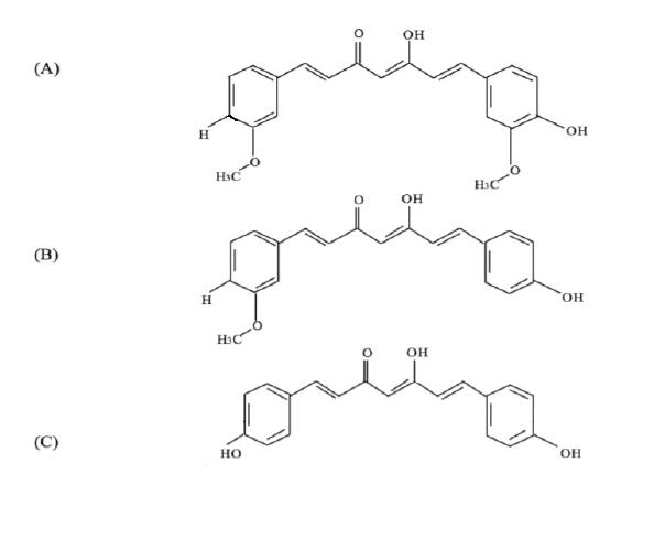 Figure 2. Structures of circuminoids.  A) Curcumin. B) Desmethoxycurcumin. C) Bisdemethoxycurcumin.