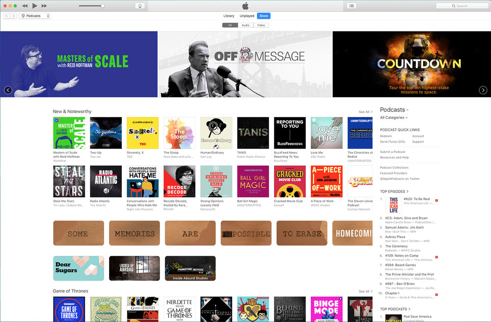 "Developing ads for Apple's Podcast ""carousel"" usually helps sales. (Arnold Schwarzenneger's Off Message Interview above)"