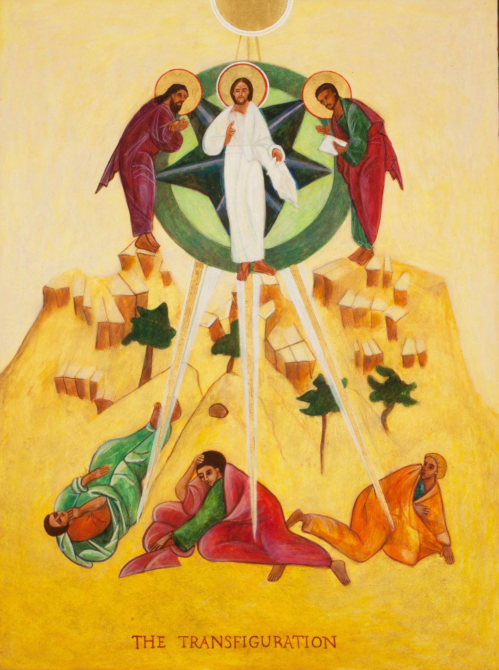 The Transfiguration - This Icon is a wonderful example not only of sacred geometry, but of the use of space in an Icon. Here we see the central axis of the Icon is Christ, God the Father(indicated by the half circle of Gold at the top center), the Holy Spirit (indicated by the rays of Gold emanating from the circle)- the Trinity.  The circle from which Christ stands includes the two Prophets, Moses and Isaiah - bringing the Old Testament time into relationship with New Testament time of the Apostles, James, John, and Peter below. The light that infuses the entire Icon is the light of God, His Presence during this moment.