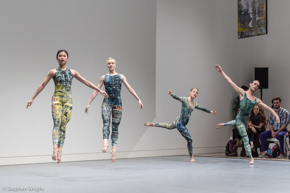 Vanessa Kang, Simone Damberg Würtz, Hannah Rudd  and  Luke Ahmet  performing the  Rambert Event  at  Phillips ' gallery London.