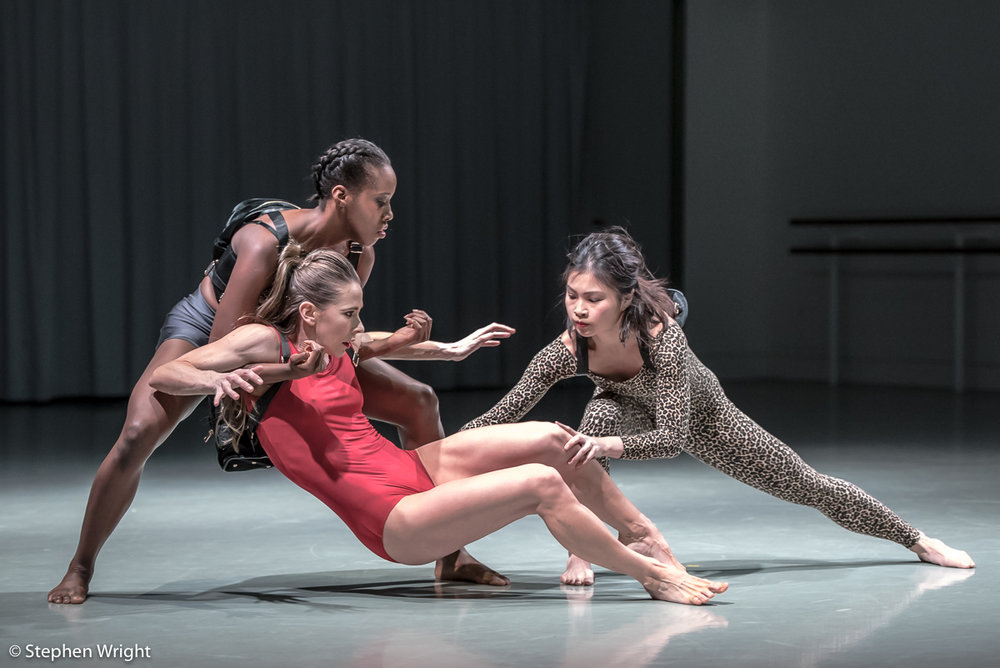Kym Sojourna, Lucy Balfour  and  Vanessa Kang  in  Stephen Quildan 's work,  Allow . Performed as part of  In the Making  presented by  Rambert.