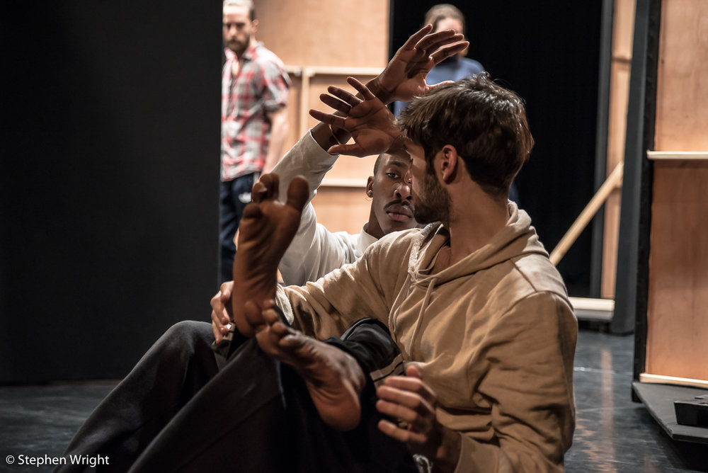 Nick Coutsier, Pau Aran Gimeno in rehearsals for  Theo Clinkard 's new work, This Bright Field .