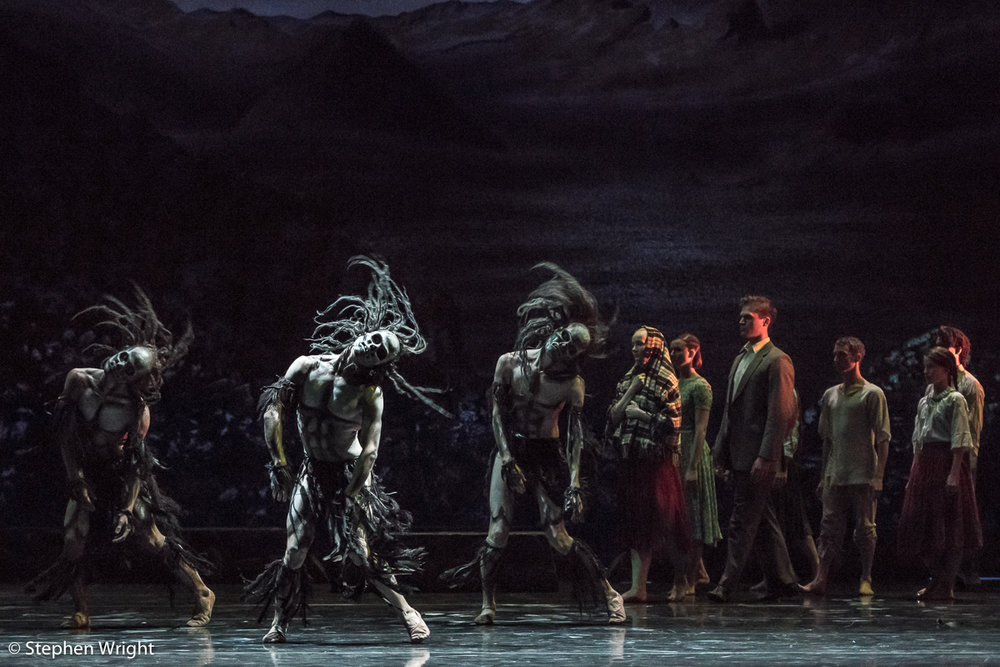 The  Rambert  company dancers performing in  Christopher Bruce's  iconic work,  Ghost Dances . Performed at  Sadler's Wells Theatre ,  London .