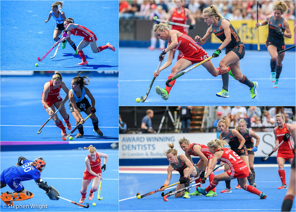 The  England  women's hockey team playing against both  Argentina  and  The Netherlands  as part of the  Investec Internations  at the  Queen Elizabeth Olympic Park .