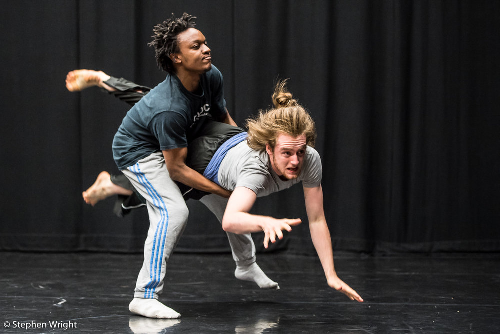 Anthony Matsena ,  Chris Thomas  peforming  N a tasha Chu 's work-in-progress during the  Sadler's Wells Young Associates Summer School .