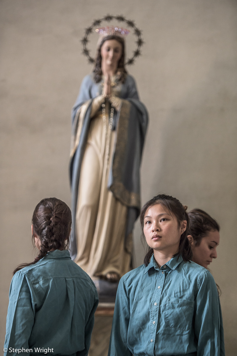 Winifred Burnet-Smith, Vanessa Kang, Anna Borini performing Patricia Okenwa's Stabat Mater as part of OperaEstate Festival, Bassano del Grappa.