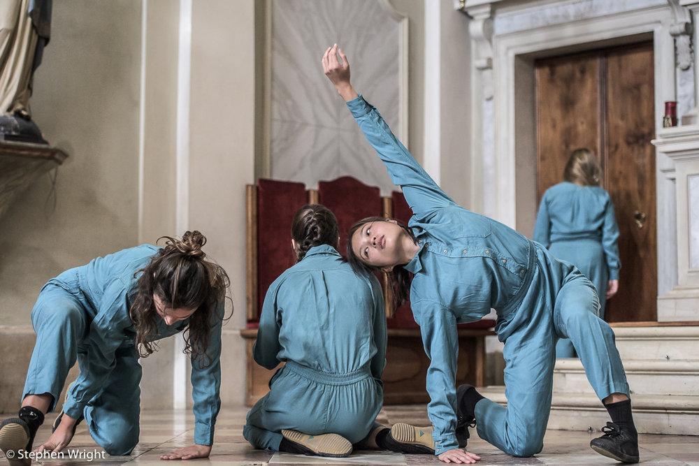 Anna Borini ,  Winifred Burnet-Smith ,  Vanessa Kang,Ann Liebeck performing  Patricia Okenwa 's  Stabat Mater  as part of  OperaEstate Festival, Bassano del Grappa .