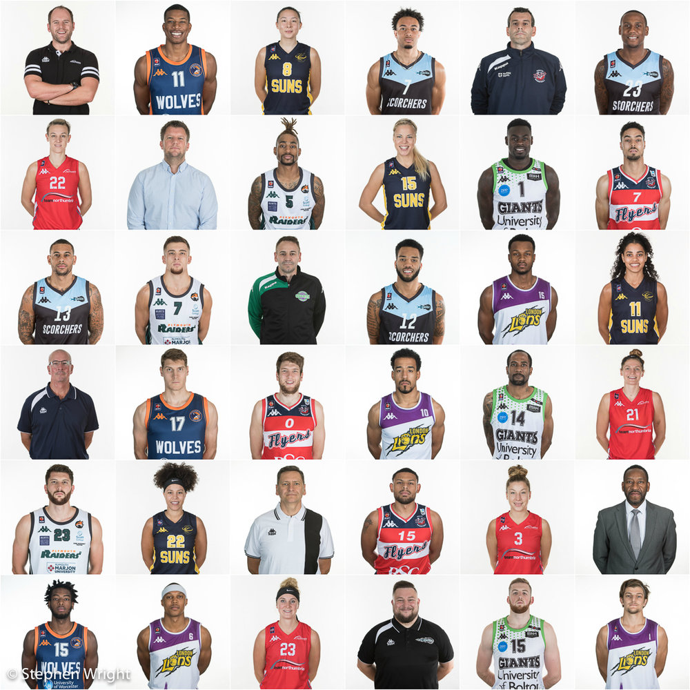 Roster headshots for the British Basketball League and the Women's Basketball League.