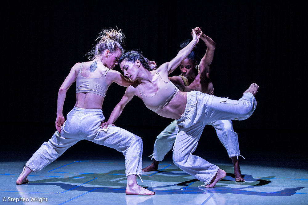 Hannah Rudd, Nancy Nerantzi  and  Sharia Johnson  performing  R2 , choreographed by  Liam Francis  as part of  Rambert 's  In the Making 2018 .