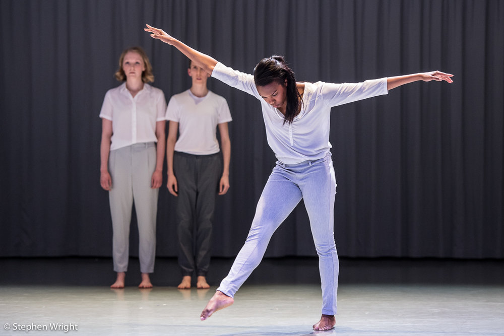 Hannah Burfield , Julie Cunningham and  Carolyn Bolton  performing  Crave  by  Julie Cunningham  as part of  Rambert 's  In the Making 2018 .